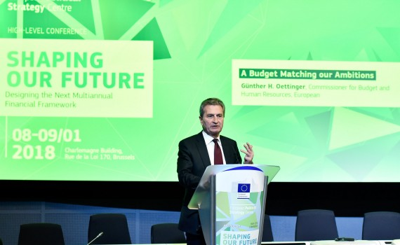 "European Commissioner for Budget and Human Resources Gunther Oettinger gives a speech during the ""Shaping our Future"" high level conference at the Charlemagne building, European Commission, in Brussels, Belgium, January 8, 2018. European Commision/Eric Vidal"